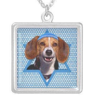 -ビーグル犬ハヌカーのダビデの星 シルバープレートネックレス
