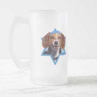 -ビーグル犬ハヌカーのダビデの星 フロストグラスビールジョッキ