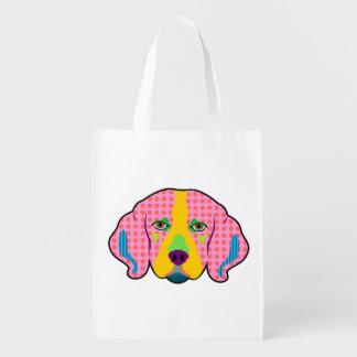 ビーグル犬パターンポップアート エコバッグ