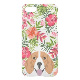 ビーグル犬犬のゆとりの箱のハワイの熱帯花模様 iPhone 7ケース
