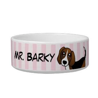 ビーグル犬-ピンクによって所有される ボウル