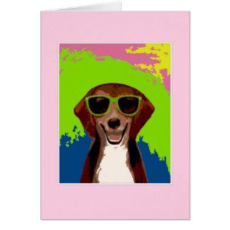 ビーグル犬-ピンクフレーム カード
