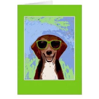 ビーグル犬-緑フレーム カード