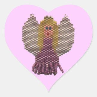ビーズの天使のモチーフ ハートシール