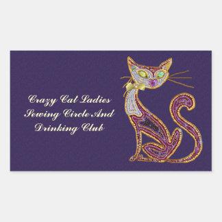 ビーズ一見の宝石の芸術猫 長方形シール