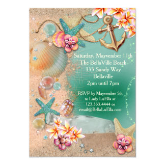 ビーチおよびルアウ(ハワイ式宴会)の招待状 カード