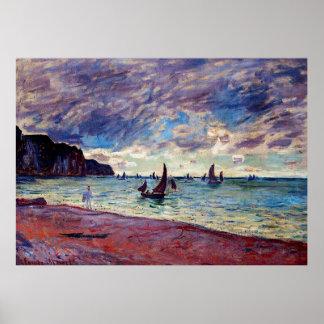 ビーチおよび崖による漁船 ポスター