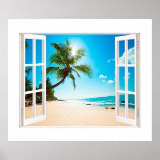 ビーチおよび海のカスタムのサイズの模造のな窓! ポスター
