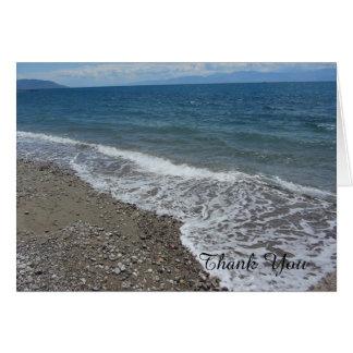 ビーチおよび海は感謝していしています カード