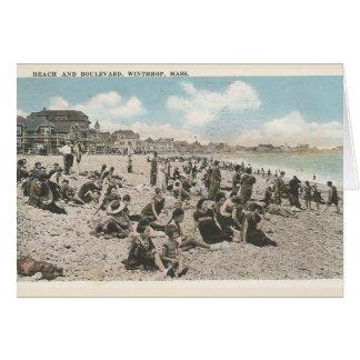 ビーチおよびBoulevad、WinthropのMAのヴィンテージの郵便はがき カード