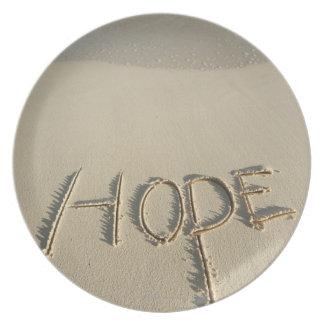 ビーチでとの書かれる単語の「希望」の砂 プレート