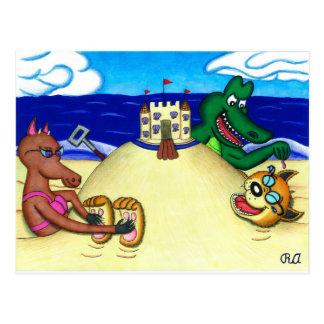 ビーチで埋められる扱いにくいディンゴ ポストカード