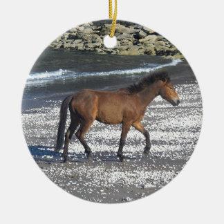 ビーチで小走りに走っているデボン南Dartmoorの子馬 セラミックオーナメント