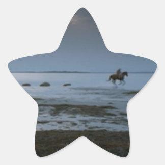 ビーチによる馬の無謀運転; ロマンチックな夕べ 星シール