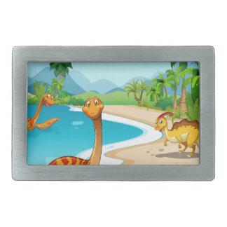 ビーチに住んでいる恐竜 長方形ベルトバックル