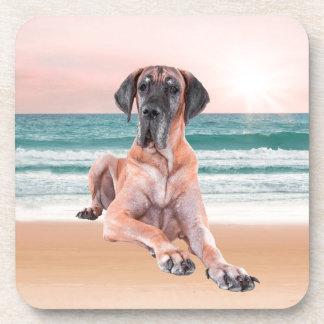 ビーチに坐っているカスタムでかわいいグレートデーン犬 コースター