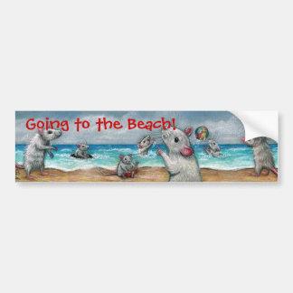 ビーチに行くラットのビーチ! バンパーステッカー