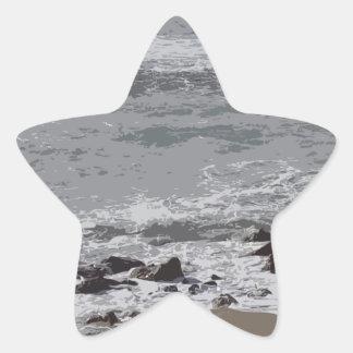 ビーチに衝突する波 星シール
