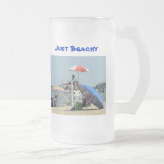 ビーチのちょうどBeachy文字の3 フロストグラスビールジョッキ
