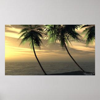 ビーチのやし日没のプリント ポスター