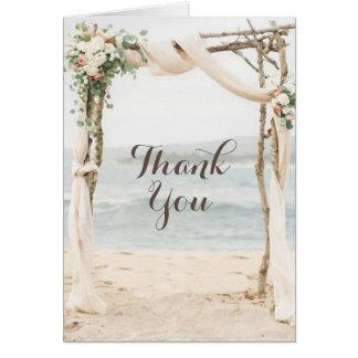 ビーチのアーバーの結婚式のサンキューカード カード