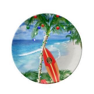 ビーチのクリスマス 磁器プレート