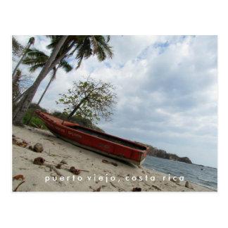 ビーチのコスタリカの郵便はがきのプエルトViejoのボート ポストカード