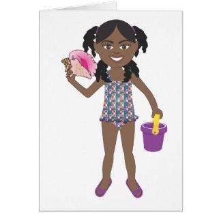 ビーチのコンシュの貝の女の子 カード