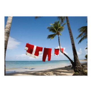 ビーチのサンタの洗濯 カード
