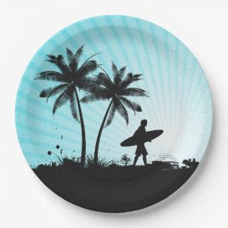 ビーチのサーファーの紙皿 ペーパープレート