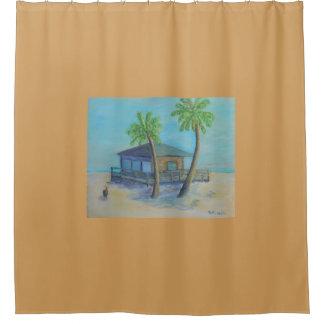 ビーチのシャワー・カーテンへの歓迎 シャワーカーテン