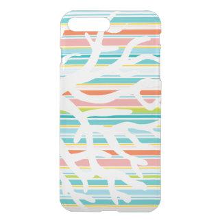 ビーチのストライプな、珊瑚のiPhoneのゆとりの例 iPhone 8 Plus/7 Plus ケース