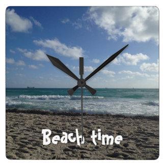 ビーチのタイムレコーダー スクエア壁時計