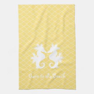 ビーチのタツノオトシゴの台所タオルに行く黄色 キッチンタオル