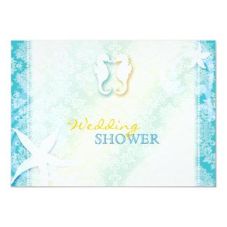 ビーチのタツノオトシゴの夏の結婚式のカップルのシャワー 12.7 X 17.8 インビテーションカード