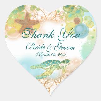 """ビーチのテーマは誕生日""""""""結婚式の感謝していしています ハート形シール・ステッカー"""