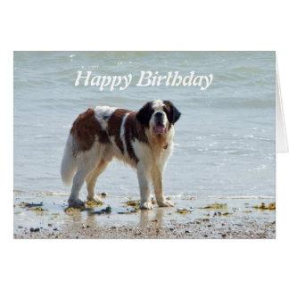 ビーチのハッピーバースデーカードのサンベルナール峠犬 カード