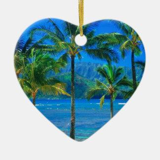 ビーチのハンモックカウアイ島ハワイ セラミックオーナメント