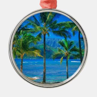 ビーチのハンモックカウアイ島ハワイ メタルオーナメント