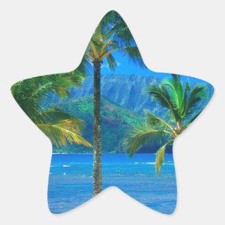 ビーチのハンモックカウアイ島ハワイ 星シール