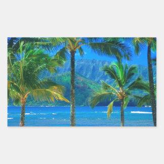 ビーチのハンモックカウアイ島ハワイ 長方形シール