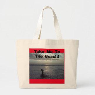 ビーチのバッグに私を連れて行って下さい ラージトートバッグ