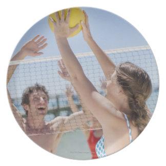 ビーチのバレーボールを遊んでいる友人 プレート