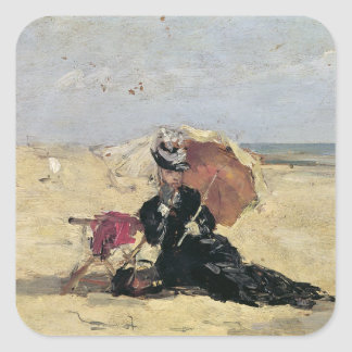 ビーチのパラソルを持つ女性、1880年 スクエアシール
