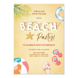 ビーチのパーティの招待状のビーチの誕生日BBQの夏 カード