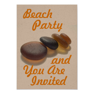 ビーチのパーティー-および招待されます カード