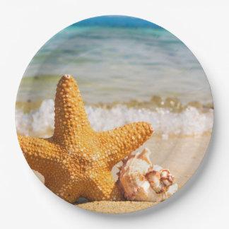 ビーチのヒトデそして貝殻 ペーパープレート