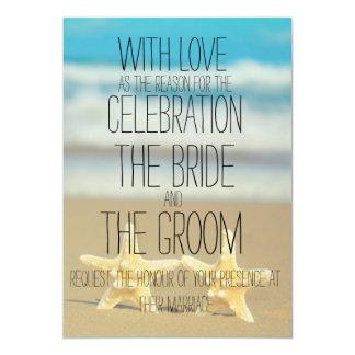 ビーチのヒトデの結婚式招待状 カード