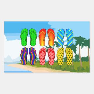 ビーチのビーチサンダル 長方形シール