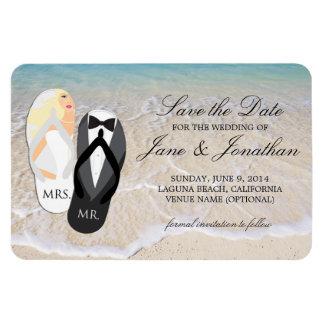 ビーチのブロンドの熱帯結婚式のデラックスな保存日付 マグネット